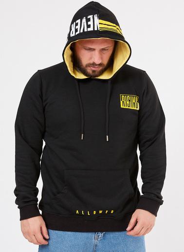 XHAN Siyah Kapüşonlu Baskılı Sweatshirt 1Kxe8-44360-02 Siyah